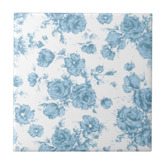 Shabby Blue French Toile Tile