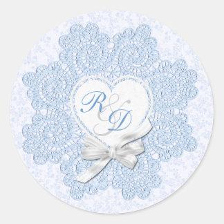 Shabby Blue Victorian Style Monogram Wedding Classic Round Sticker