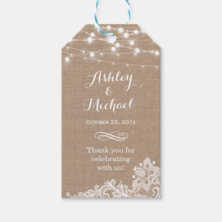 Shabby Burlap String Lights Lace Wedding Thank You Gift Tags