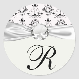 shabby chandelier white black damask classic round sticker