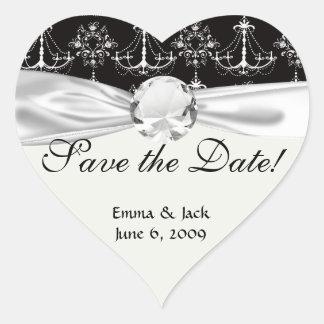 shabby chandelier white black damask heart sticker
