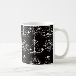 shabby chandelier white black damask mugs
