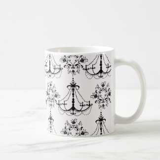 shabby chandelier white black damask coffee mugs