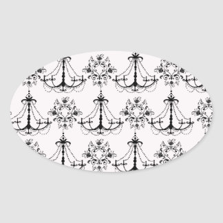 shabby chandelier white black damask oval stickers