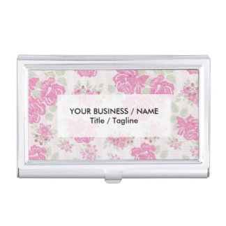 Shabby chic baby pink green roses flowers pattern business card holders