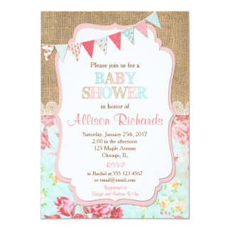 Shabby chic baby shower invitation burlap lace