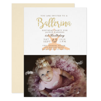Shabby Chic Ballerina Birthday Party Invite