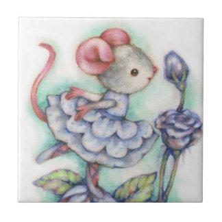 Shabby Chic Ballerina Mouse Girl Dancer Sweet Small Square Tile
