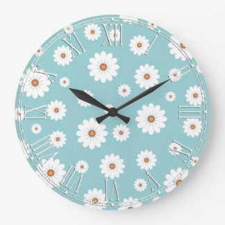 Shabby Chic Beautiful Daisy Daisies Flower Floral Large Clock