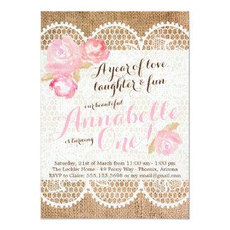 Shabby Chic Birthday Invitation, Burlap & Lace Card