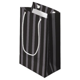 Shabby Chic Black Grey Stripes Pattern Small Gift Bag