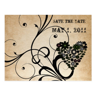 Shabby Chic Black Heart Save the Date Postcard