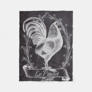 shabby chic blackboard french country rooster fleece blanket