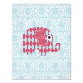 Shabby Chic Blue Rose Harl Elephant, Blue Damask Photo Print