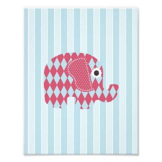 Shabby Chic Blue Rose Harl Elephant, Blue Stripes Photograph
