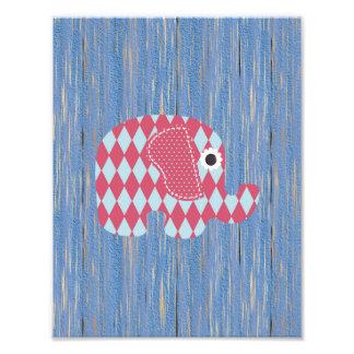 Shabby Chic Blue Rose Harl Elephant, Blue Wood Art Photo