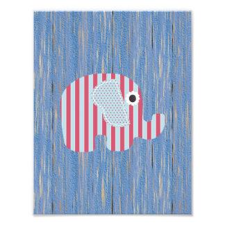 Shabby Chic Blue Rose Stripe Elephant, Blue Wood Photographic Print
