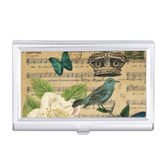 shabby chic botanical  french bird Camellia Business Card Holder