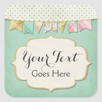 Shabby Chic Boutique Bunting in Pink, Mint & Gold Square Sticker