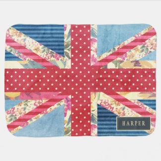 Shabby Chic | British Flag Custom Name Baby Blankets