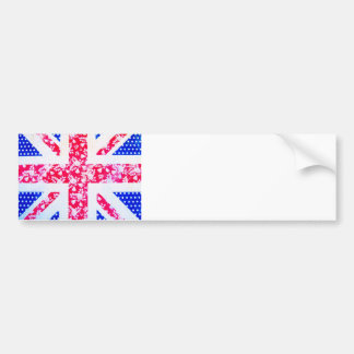 Shabby Chic British Flag - Polka Dots and Floral Bumper Sticker