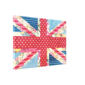 Shabby Chic | British Flag Quilt Stretched Canvas Print