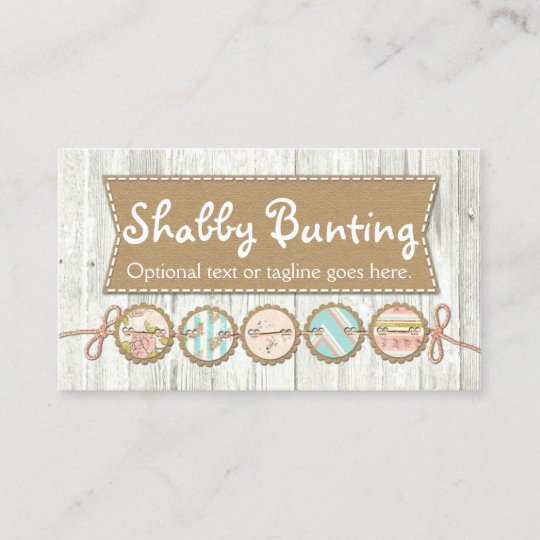 Shabby chic bunting on rustic white painted wood business card shabby chic bunting on rustic white painted wood business card reheart Image collections