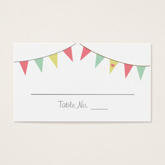 Shabby Chic Bunting Placecards Pink and Mint Business