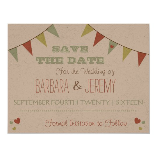 Shabby Chic Bunting Save the Date Card
