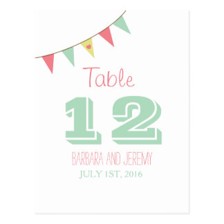 Shabby Chic Bunting Table Number Pink and Mint Postcard