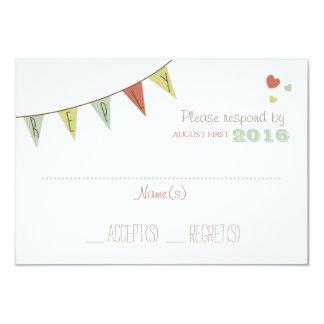 Shabby Chic Bunting Wedding Reply Card Delicate 9 Cm X 13 Cm Invitation Card