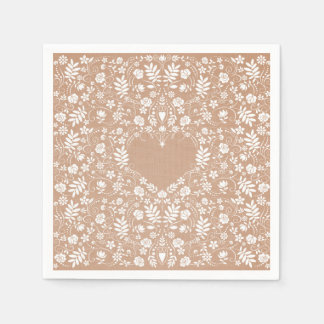 Shabby Chic Burlap and Lace Floral Heart Napkin Paper Napkins
