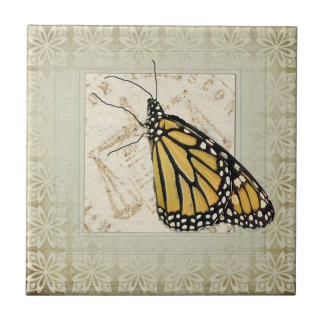 Shabby Chic Butterfly Small Square Tile