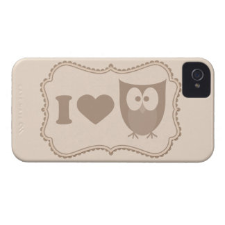 Shabby Chic Cartoon Tag I Love Owls iPhone 4s Case iPhone 4 Case-Mate Cases