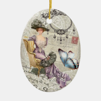 shabby chic chandelier Vintage victorian lady Ceramic Oval Decoration