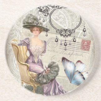 shabby chic chandelier Vintage victorian lady Drink Coasters