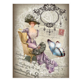 shabby chic chandelier Vintage victorian lady Postcard