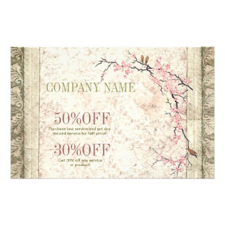 shabby chic cherry Blossom floral Country vintage 14 Cm X 21.5 Cm Flyer