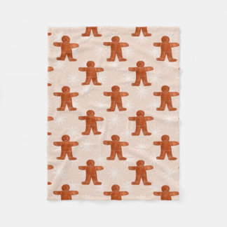 Shabby Chic Christmas Ginger Man Pattern Holiday Fleece Blanket