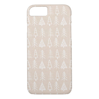 Shabby Chic Christmas Trees Pattern Holiday Cream iPhone 8/7 Case