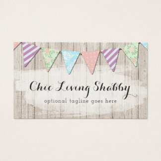 Shabby Chic Country Bunting on Rustic Painted Wood