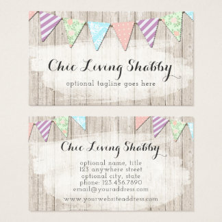 Shabby Chic Country Bunting on Rustic Painted Wood Business Card