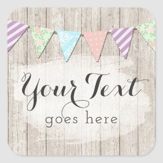 Shabby Chic Country Bunting on Rustic Painted Wood Square Sticker