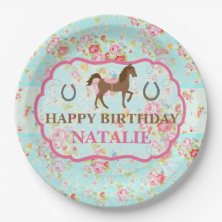 Shabby Chic Cowgirl Floral Pony Paper Plate 9 Inch Paper Plate