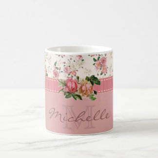 Shabby Chic Custom Name & Monogram Floral Coffee Mug