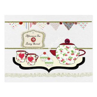 Shabby Chic Cute Tea Party Postcard