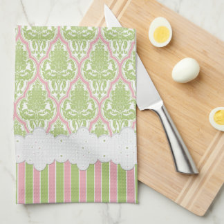 Shabby Chic Damask Green & Pink Tea Hand Towels