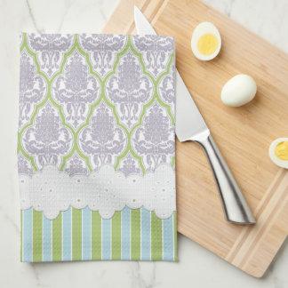 Shabby Chic Damask Lilac & Green Tea Tea Towel