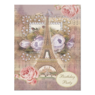 Shabby Chic Eiffel Tower Floral Birthday Party 11 Cm X 14 Cm Invitation Card