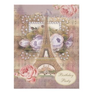 Shabby Chic Eiffel Tower Floral Birthday Party Invitations